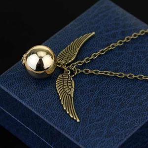 Collar Con Dije Snitch Harry Potter Alas Doradas Regalo