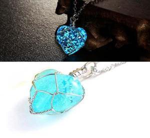Collar Corazón Envio Gratis Cristal Brilla En La Oscuridad