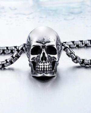 Collar Dije Cadena Cráneo Calavera Acero Inoxidable