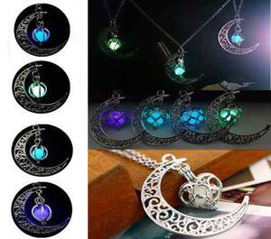 Collar Luna Corazón Brilla En La Oscuridad Mayoreo Oferta
