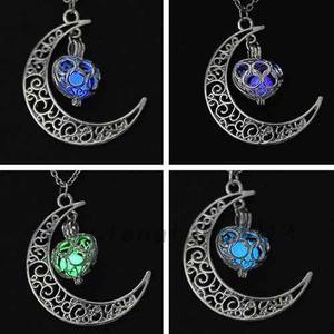 Collar Luna Corazón Brilla Oscuridad Mujer Mayoreo 1 Pza