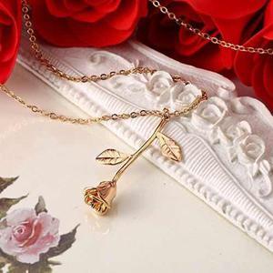 Collar Rosa Flor Mujer Regalo Vintage Barato Mayoreo Novia