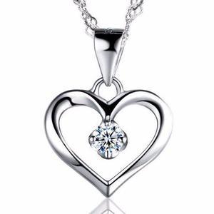 Collar Y Dije Plata.925 Corazón Zirconia Para Mujer
