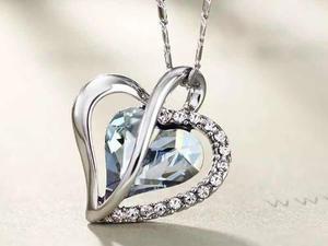 Corazón Cristal Swarovski Collar + Tarjeta Personalizada.