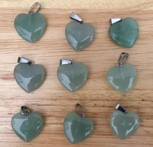 Dije Cuarzo Aventurina Verde Natural Corazón Unisex 20mm
