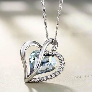 Dije Y Collar Corazón Cristal Swarovski Elem Cert Regalo