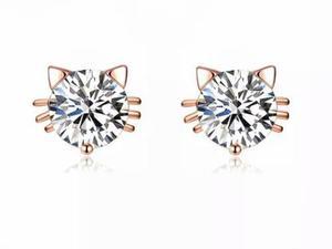 Duo Aretes Gato Zirconia Diamante Chapa Oro 18k