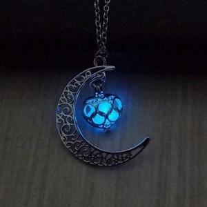 Hermoso Collar Luna Mujer Brilla Oscuridad 2x1