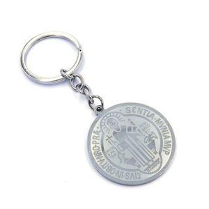 Llavero Acero Plateado Medalla San Benito Grande