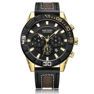 Megir Moda Genuino Cuero Hombres Deporte Reloj 3atm