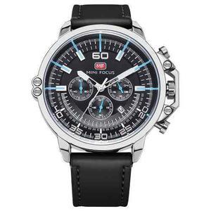 Mini Focus Relojes De Hombres Cuero Genuino Moda Quartz 3atm