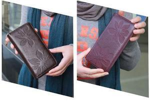 Nueva Moda Largo Mujer Monedero Floral Chocolate