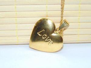Relicario Portaretrato Corazón Oro Laminado+ Cadena +