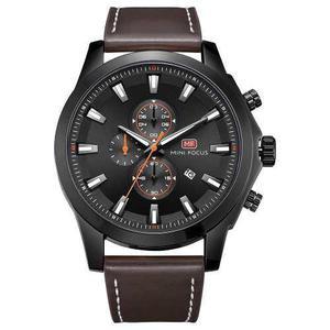Reloj Deporte Mini Focus Moda Cuero Genuino Hombres 3atm