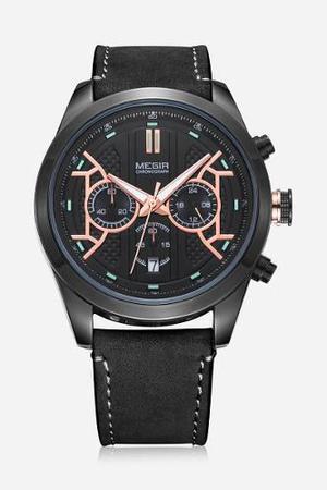 Reloj Megir 3016 Cuarzo De Negocios Negro Para Hombre
