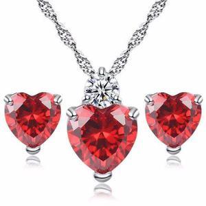 Set Collar Y Aretes De Plata 925 Zirconia Corazón Mujer