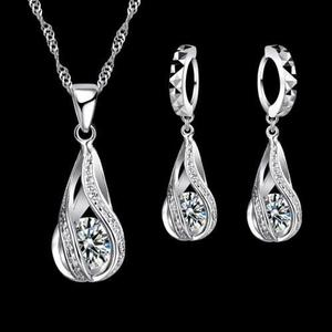 Set Collar Y Aretes De Plata Ley.925 Mujer Zirconias Regalo