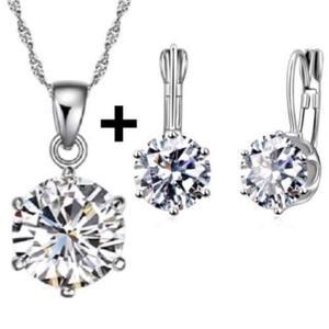 Set Collar Y Aretes De Plata Ley.925 Para Mujer Zirconias