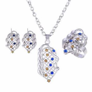 Set Cristales Caja Y Certificado Anillo Dije Y Aretes