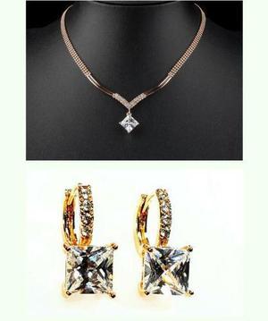 Set Oro Cristal Swarovski El Regalo Más Fino Collar-