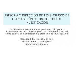 TESIS, ASESORIA Y CURSOS DE ELABORACIÓN DE PROTOCOLO DE
