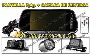 Monitor Tipo Espejo Retrovisor Pantalla 7 C/ Camara Reversa