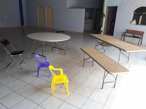 vendo lote de mesas y sillas para eventos seminuevas