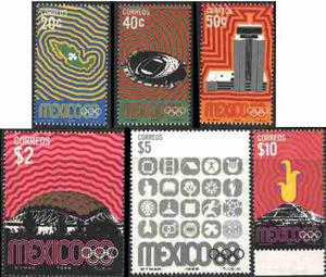 0162 México Olimpiadas Serie Completa 6 S Mint 5° E 1968