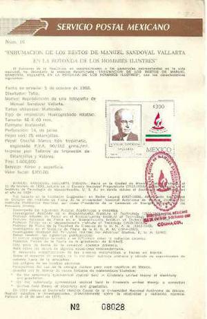 1988 Hoja Primer Día D Emisión Filatelica Manuel Sandoval