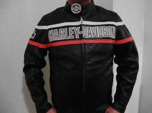 Chamarra de piel Harley con reflejante
