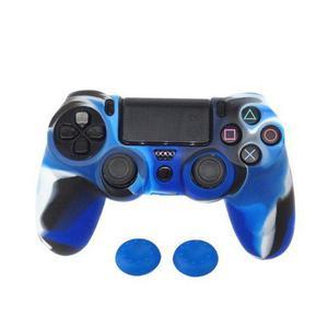 Funda Protectora Azul De Silicon Para Control De Ps4 + Gomas