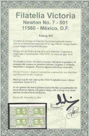 Mexico 1975 60c Verde Sin Filigrana C471a Bl.4 Certif. Aut.
