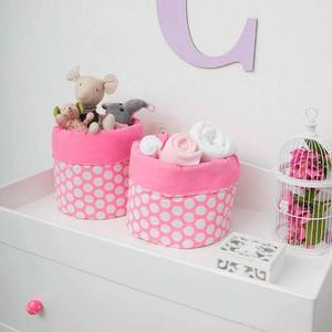 Set De 2 Cestos Organizadores Para Bebe Rosa Chiquimundo