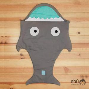 Sleeping Bag Gris Aqua Para Bebé Con Forma De Tiburón