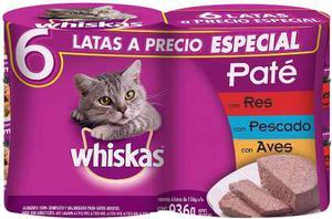 Alimento Para Gato Whiskas Six Pack Lata 156 Gr C/u