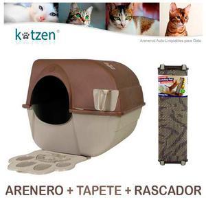 Arenero Autolimpiable Grande + Tapete + Rascador Omega Paw