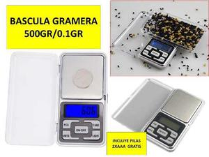Bascula Gramera Digital Cocina 500gr 0.1gr Pesar 6 Piezas