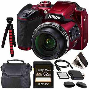 Nikon Coolpix B500 Digital Camera (red) 26508 + Sony 32gb Uh