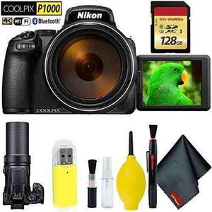 Nikon Coolpix P1000 Digital Camera + 128gb Memory Card Base