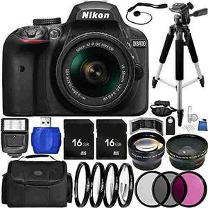 Nikon D3400 Dslr Camera (black) Bundle With Af-p Dx 18-55mm