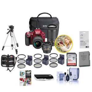 Nikon D3400 Dx-format Dslr Camera Red With 35mm 1.8 Af-p Dx,