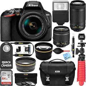 Nikon D3500 Dslr Camera W/af-p Dx 18-55mm & 70-300mm Zoom Le