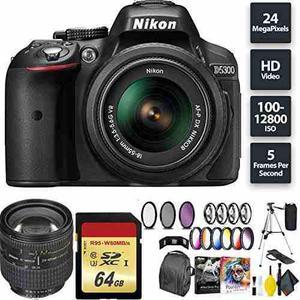 Nikon D5300 Dslr Camera + Af-p 18-55mm Lens + 64gb Memory Ca