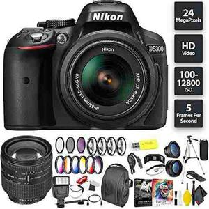 Nikon D5300 Dslr Camera + Af-p 18-55mm Lens + Nikon 24-85mm