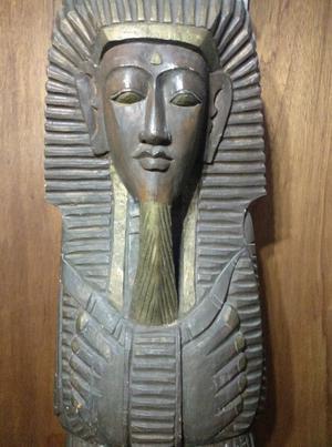 Estatua Alta de Egipcio en Fina Madera Importado