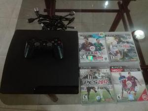 Ps3 Slim 160 Gb, 4 Juegos, 2 Controles.