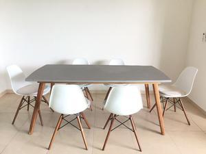 Comedor: Mesa rectangular y 6 sillas modernas