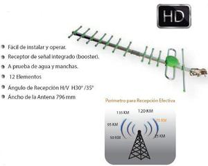 Antena Aerea Hd 75km Yaguimax Señal Digital 12mts. Cable