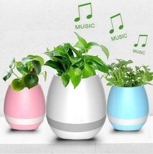 Bocina Touch Bluetooth Tipo Maceta Decorativa Multicolor Led