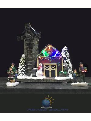 Villa De Navidad Molino De Viento Luz Led De Colores